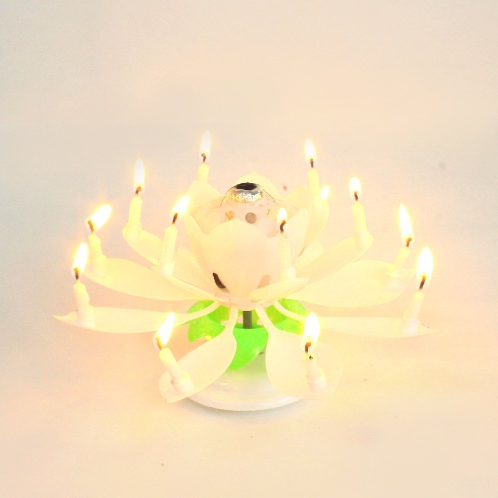 Sinfore 1pcs Amazing Two Layers With 14 Small Candles Lotus Happy