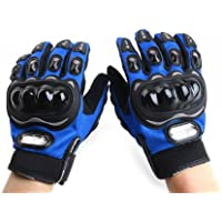Probiker Leather Motorcycle Gloves (Blue, L)
