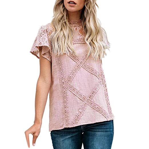 1556ab0fe08 FRC0LT Fashion Women s Floral Lace Panelled Flare Short Sleeve Casual T  Shirt Top at Amazon Women s Clothing store