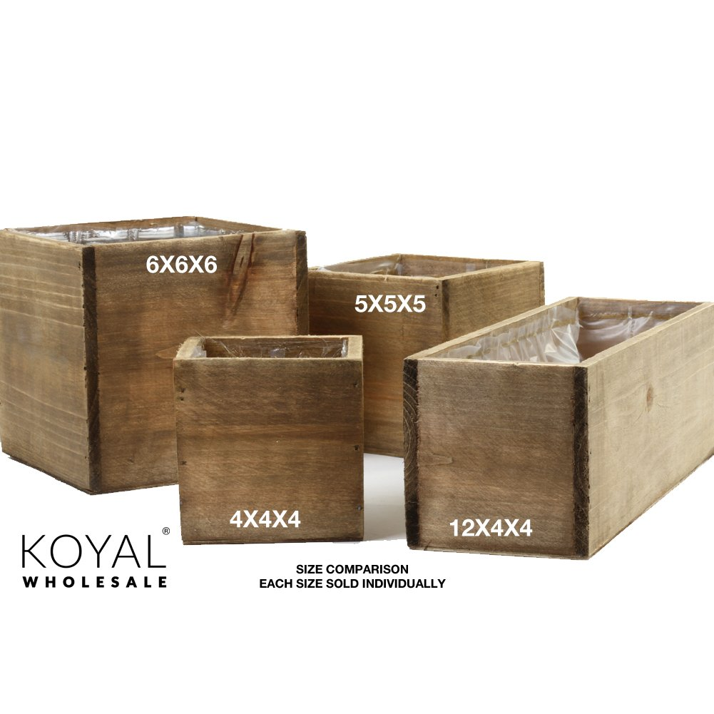 Koyal Wholesale Square Cube Shabby Chic Wood Vase (Pack of 6), 6'', Brown by Koyal Wholesale (Image #2)
