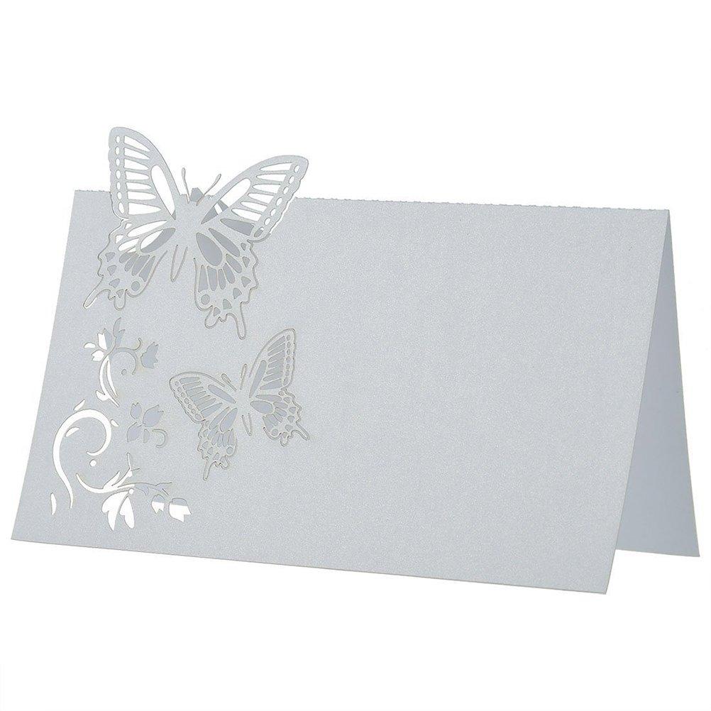 ROSENICE 50pcs Carte Porte Nom Marque Place Mariage Décoration de Table Papillon Fleur Blanc