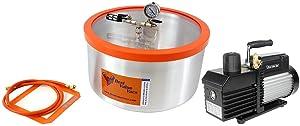 Best Value Vacs 7 Gallon Aluminum Vacuum Chamber and VE160 7CFM Single Stage Vacuum Pump Kit