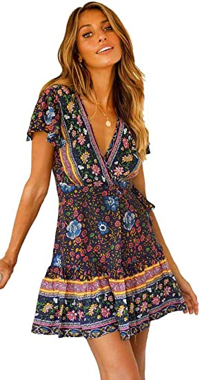 Vestidos Mujer, Vestido Fiesta Sexy Floral Manga Larga Mujer Camiseta A-Line Mini Vestido: Amazon.es: Ropa y accesorios