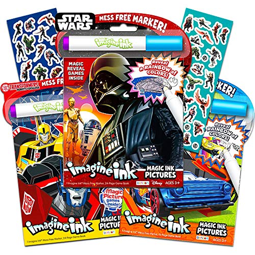 Magic Ink Coloring Book Super Set -- 3 Imagine Ink Books for Kids Toddlers Featuring Star Wars, Transformers, Hot Wheels with Invisible Ink Pens and Avengers Stickers (Mess Free Coloring -