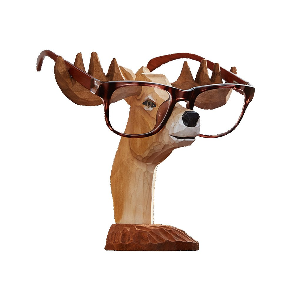 RockTrend Home Decor Desktop Accessory Adorable Animal Deer Shape Wooden Eyeglasses Sunglasses Holder Spectacle Display Stand-Khaki