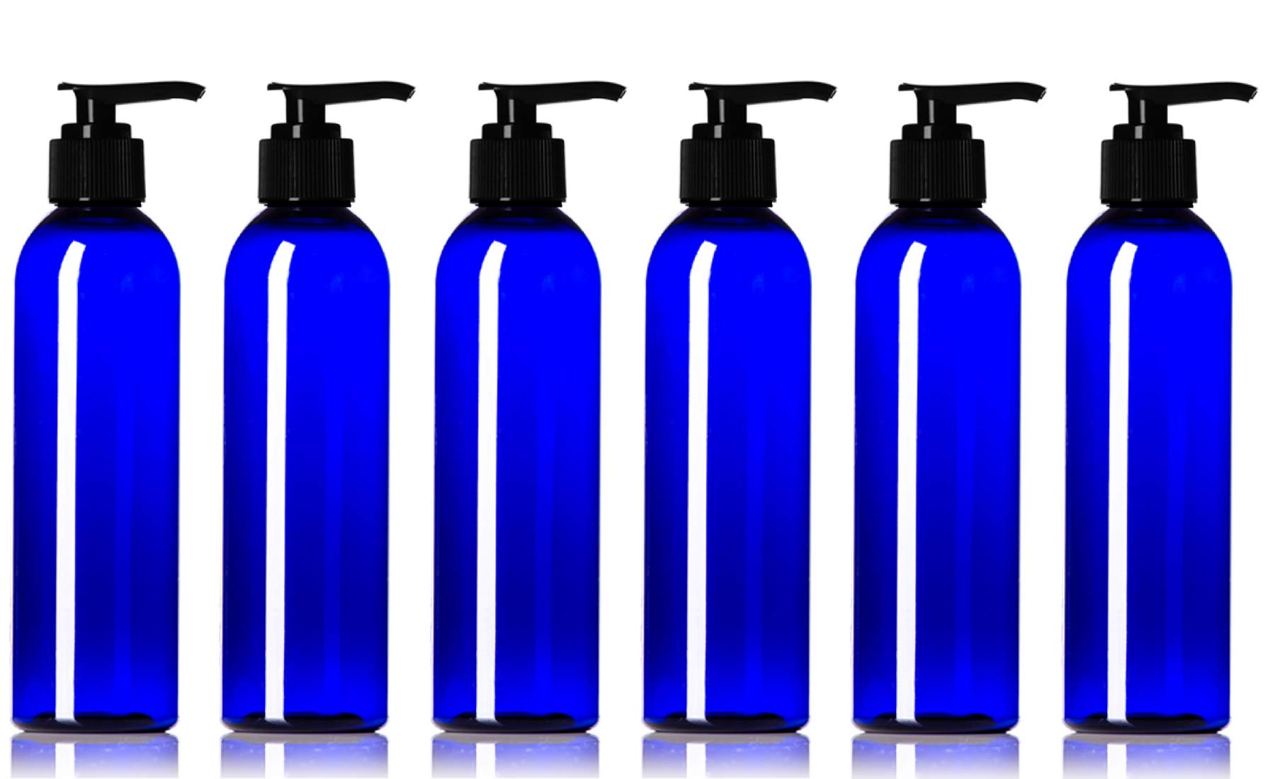 6 oz Empty Plastic Lotion Bottles Made in USA BPA-Free with Pump Dispensers Refillable Containers for Shampoo, Castile Liquid Soap, Massage Oil (Pack of 6, Cobalt Blue)