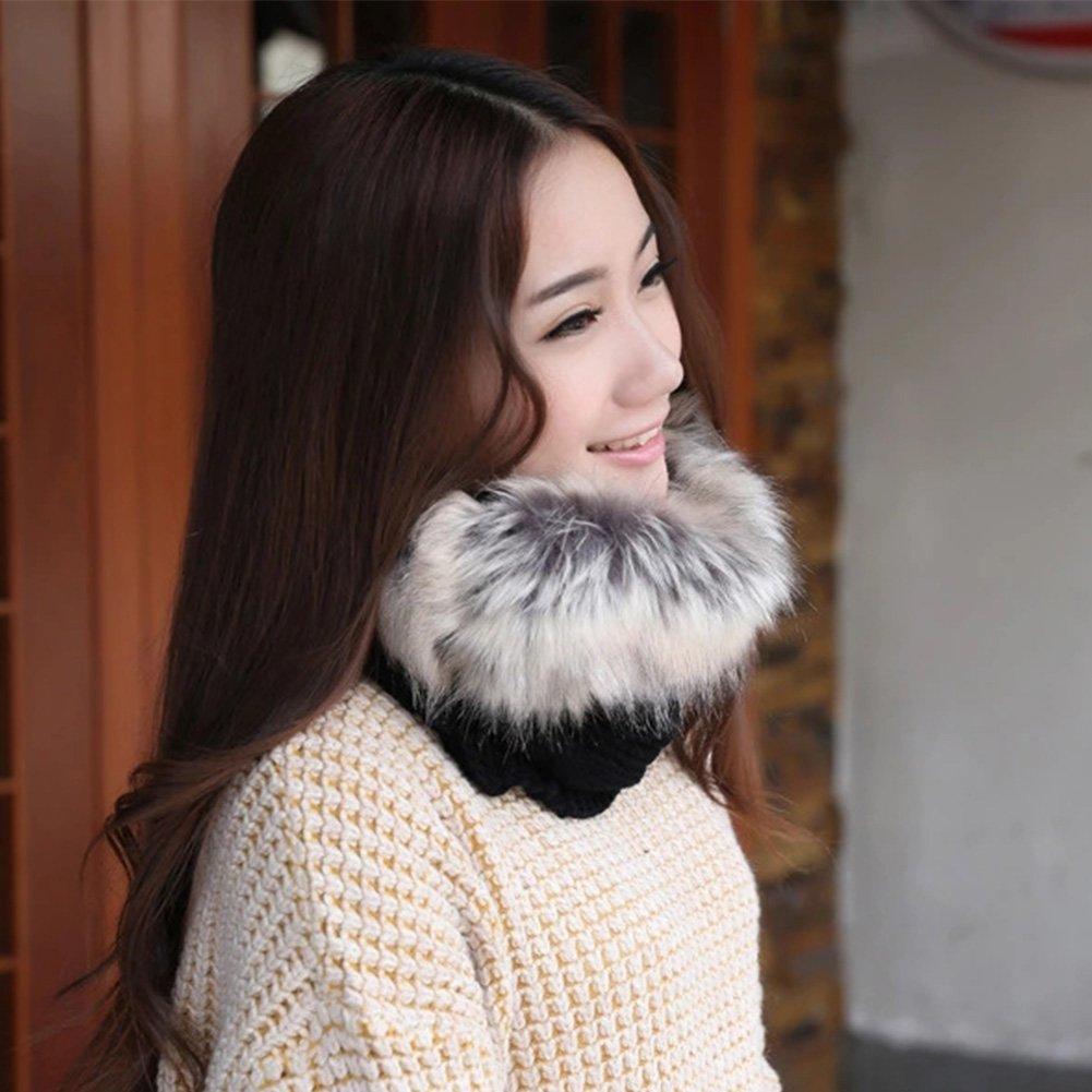 Jian Ya Na Womens Pompom Beanie Winter Warm Hats for Girls Windproof Scarf Warm Snow Knit Skull Cap
