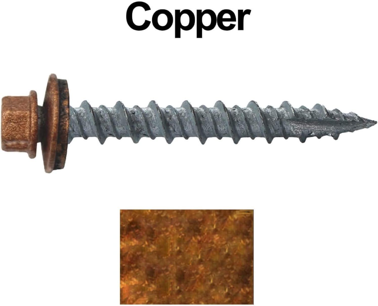 EPDM Washer 10 x 1-1//2/ Galvanized Hex Head Sheet Metal Roof Screw 250 Self Starting Metal to Wood siding Screws Metal Roofing Screws: No Paint