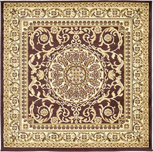 Unique Loom Versailles Collection Traditional Classic Brown Square Rug 4 0 x 4 0
