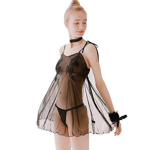 8e189e8a0b Anewoneson Women Lace Modal Sleepwear Chemises Full Slip Babydoll Nightgown  Black