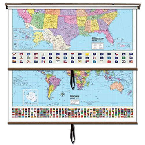 US/World Essential Combo Classroom Wall Map on Roller