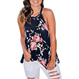 F_topbu Clearance Women Tank Crop Tops Teen Girls Floral Printed Halter Tops Cami Shirt Sleeveless Blouse Camisoles