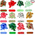 24 Pieces Christmas Gift Wrap Ribbon Pull Bows; Easy and Fast Gift Wrapping Accessory for Christmas Gifts, Bows, Baskets, Wine Bottles Decoration, Gift Wrapping and Decoration Present.