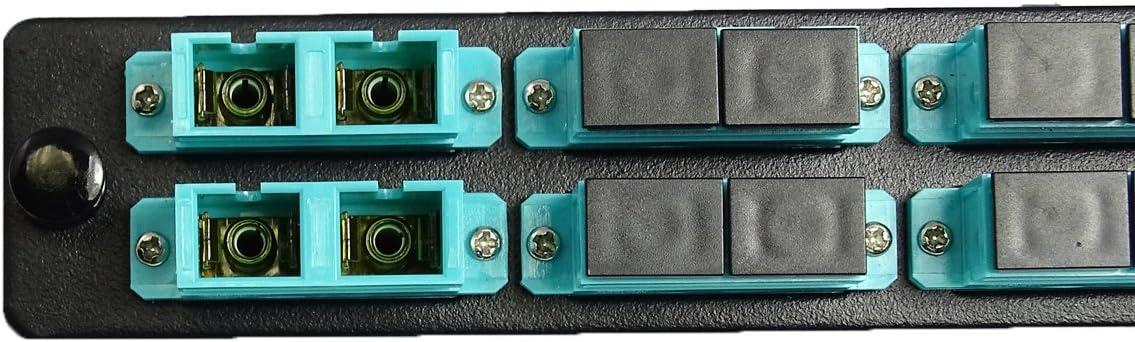 6 Ports Black RiteAV LGX Footprint SC Adapter Panel Loaded w//6 SC OM3 10Gig Duplex Adapters