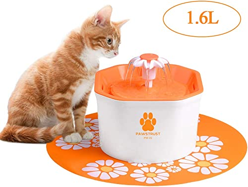 Cat Water Fountain, 1.6L Automatic Pet Water Filter Dispenser with Silicone Mat, Super Quiet, Healthy and Hygienic Drinking Bowl for Cats, Dogs, Multiple Pets Orange