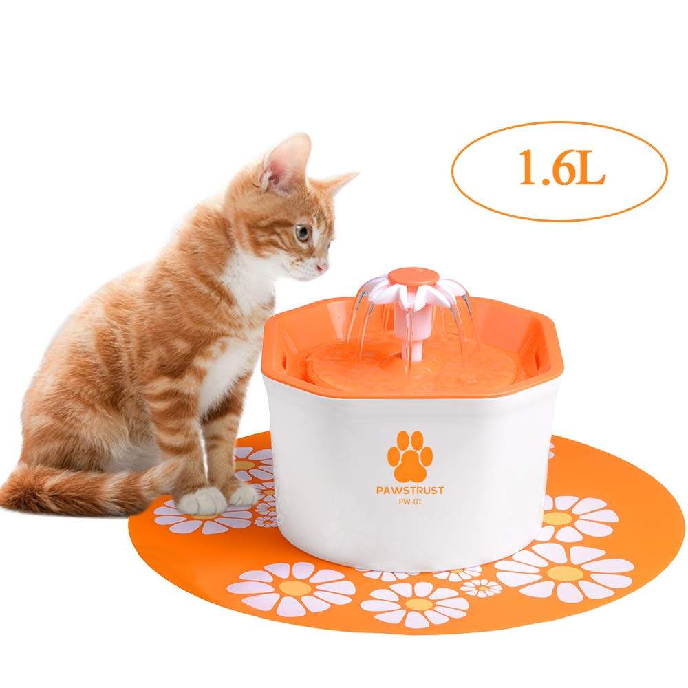 Cat Water Fountain, 1.6L Automatic Pet Water Filter Dispenser with Silicone Mat, Super Quiet, Healthy and Hygienic Drinking Bowl for Cats, Dogs, Multiple Pets (Orange)
