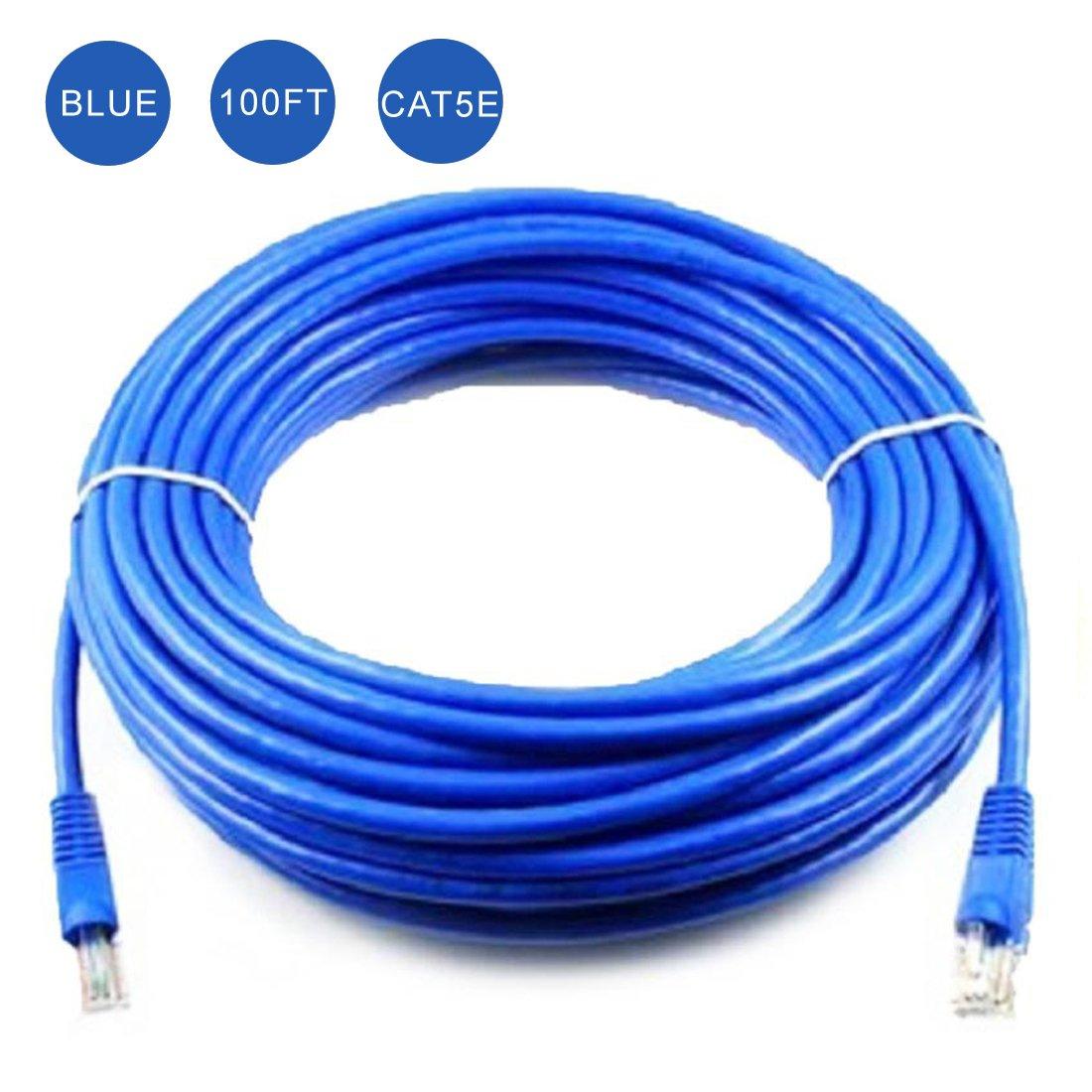 Konex (TM) Ethernet Cable, CAT5e - 100 ft Blue (LAN hardware) EIA568 Patch Cable, RJ45 / RJ45 100' Blue for 10 Base-T, 100 Base-T RJ45 / RJ45 100' Blue for 10 Base-T DIGIPARTS 10-059
