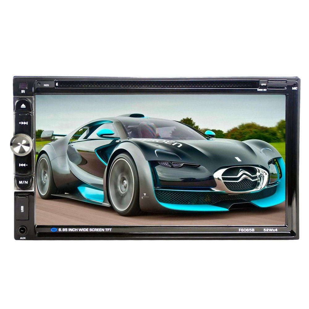 Suncer 2 DIN 6.95 Inch TFT Wide Touch Screen In Dash Car Radio Stereo DVD Player Support Bluetooth Hands Free Calls 1080P Movie Rear View Camera Mp5 (F6065B)