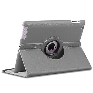 ebestStar - Compatible Funda iPad 4 3 2 Carcasa Cuero PU, Giratoria 360 Grados, Función de Soporte, Gris [Aparato: 241.2 x 185.7 x 9.4mm, 9.7]