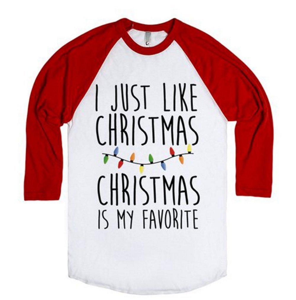 Amazon.com: I just Like Christmas is my Favorite T-shirt Women ...