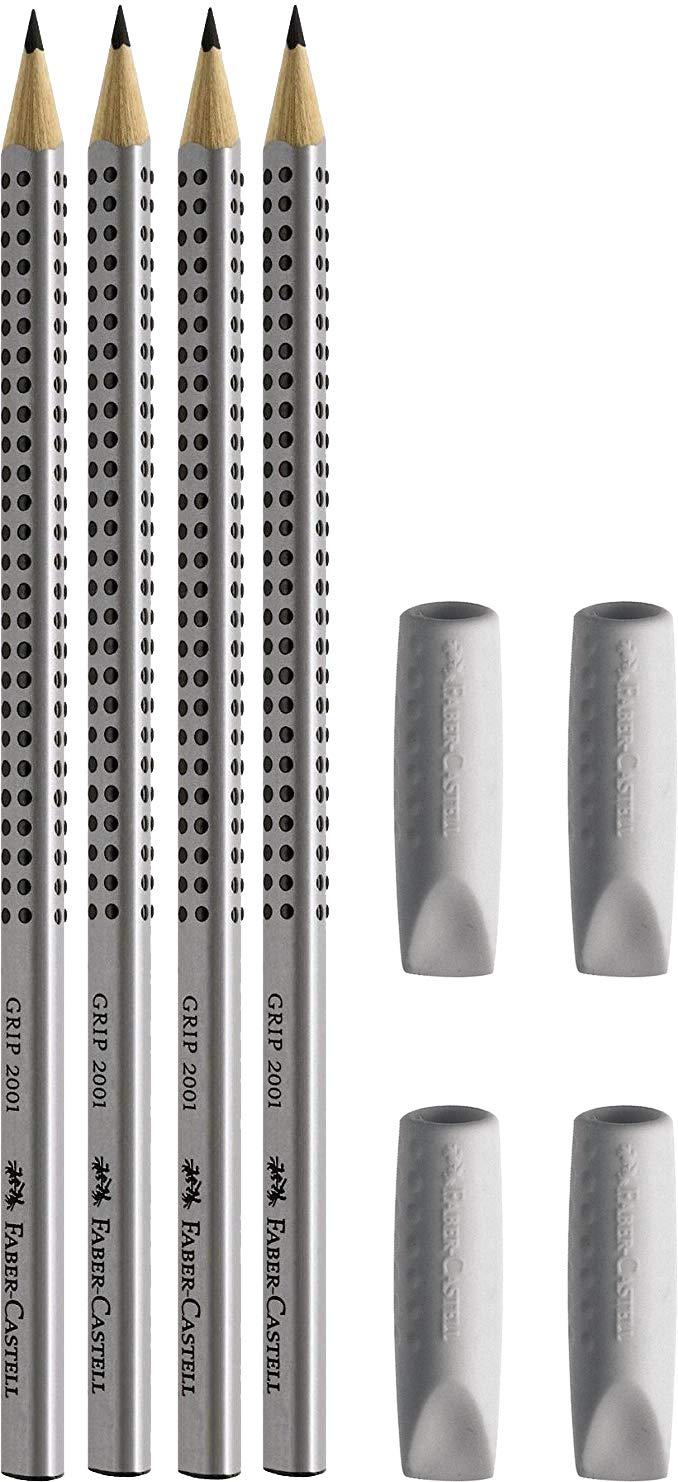color gris 2 unidades Gomas de borrar gris Faber-Castell Grip 2er Pack