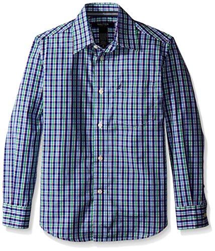 Nautica Big Boys' Long Sleeve Multi Color Check Shirt, Green, 16