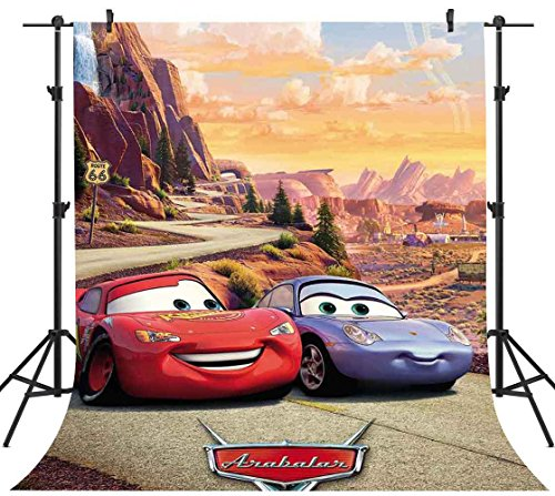 FHZON 5x7ft Cartoon Animated Movie Cars Backdrops for Photography Mountain Road Racing Background Themed Party Photo Booth Studio Props YouTube Backdrop -