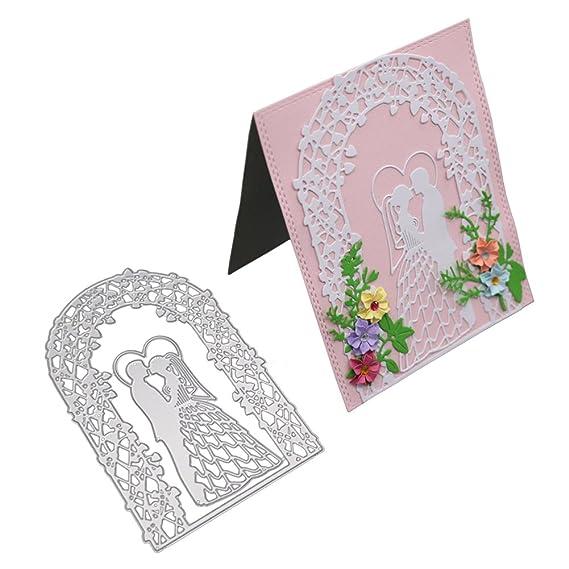 zmigrapddn Troqueles,Patrón de la puerta de la flor del recién casado Troqueles de corte plantilla moldes para hacer álbumes de recortes Álbum Tarjeta de ...