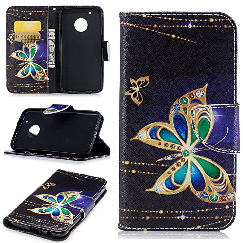 ZER Painted Pattern Shockproof [Kickstand Feature] Premium PU Leather Folio Flip Wallet Case with Cash/Card Slots and Magnetic Clasp Case for Moto G5 Plus 2017 Model ()