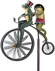 Vintage Bicycle Metal Wind Spinner, Garden Stake Spinner with Standing Pole, Animal Bike Spinner for Outdoor Garden Yard Lawn Windmill Decoration (A)