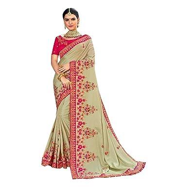 Amazon.com: Designer Reception Ropa de Satén Sari para Mujer ...