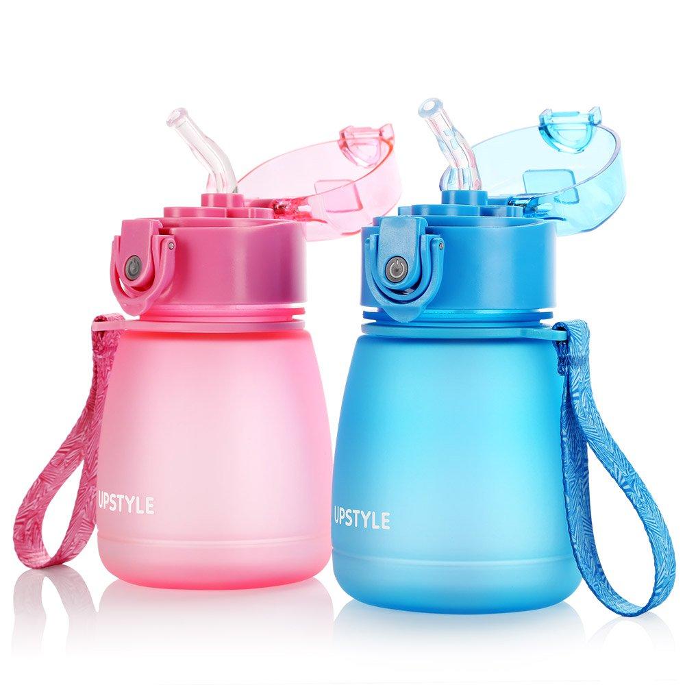 UPSTYLE, PC510, mini borraccia per bambini, senza BPA, con cannuccia, a prova di perdite, in plastica, per sport e da viaggio, tazza per bambini, da 300 ml Blue da 300 ml Blue