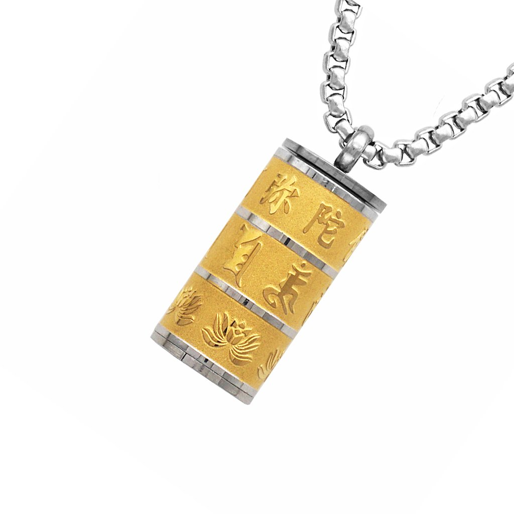 Jili Online Openable Mantra Prayer Stainless Steel Buddhist Pendant Link Chain Necklace Jewelry