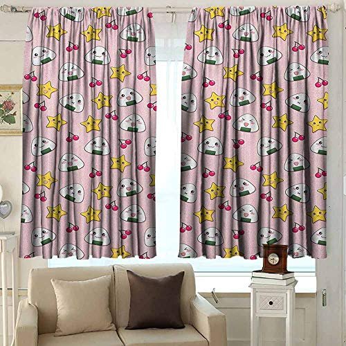 (Window Curtains Anime Funny Pattern with Japanese Rice Balls Cherries and Stars Childish Food Cartoon Print Room Darkening, Noise Reducing 72 W x 63 L Inches Multicolor)