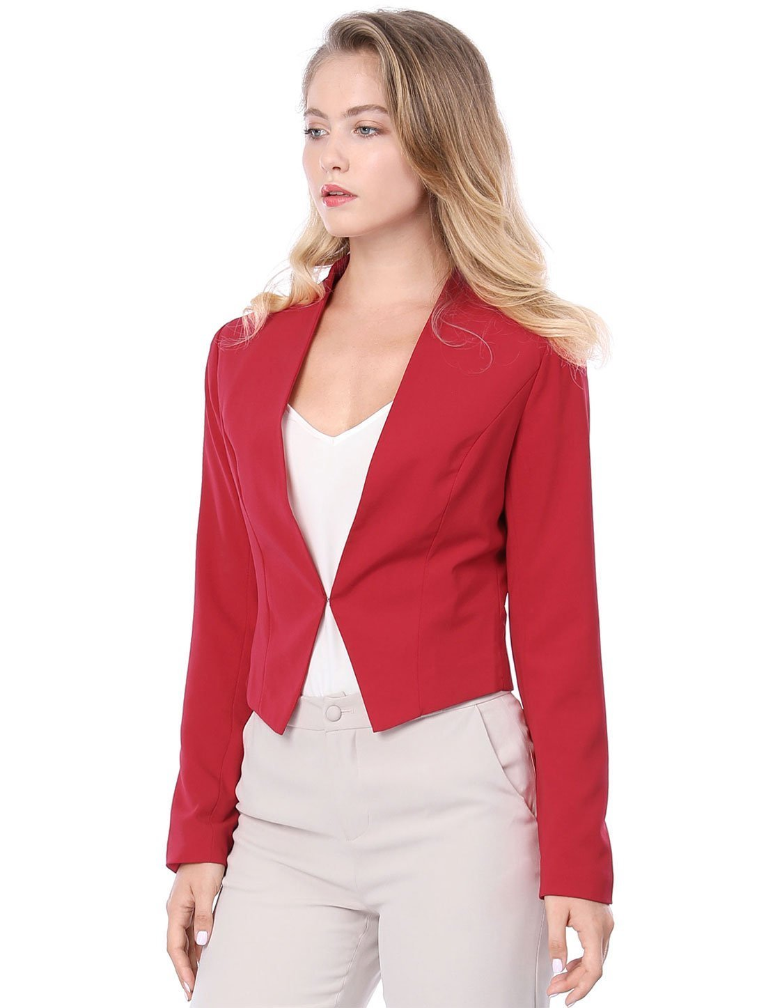 Women's Collarless Work Office Business Casual Cropped Blazer S Red