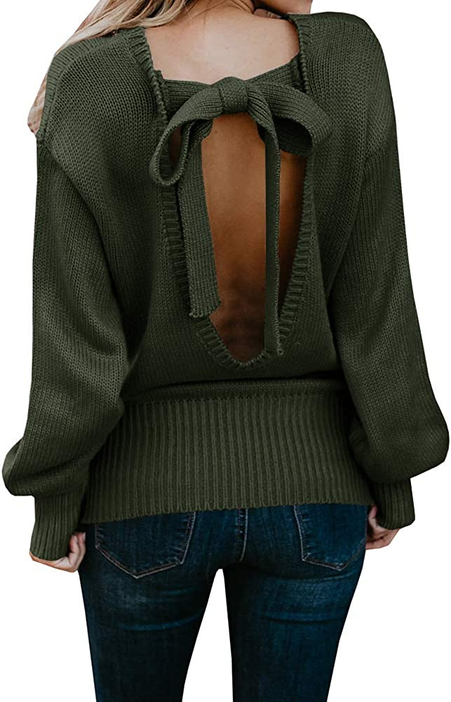 Chuanqi Womens Oversized Sweaters Limited time for free shipping Winter Pullover Open Popular popular Sexy Back