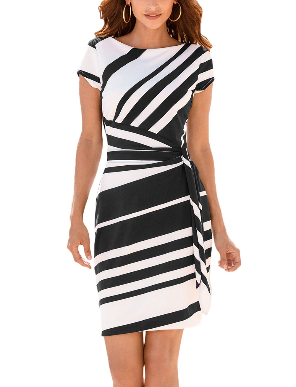 MuCoo Womens Black White Stripe Office Wear to Work Formal Bodycon Sheath Dress M-CA-LC61657