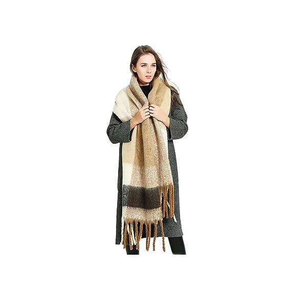 a60abd1062df Femme Fille Couleur de Contraste Tartan carreaux plaid Extra Longue Très  Épais Écharpe Wrap Châles Etole