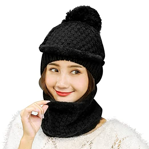 Vbiger Women Warm Hat Scarf Set Thickened Knit Hat and Scarf Winter Beanie  and Scarf with 4168d56233e5