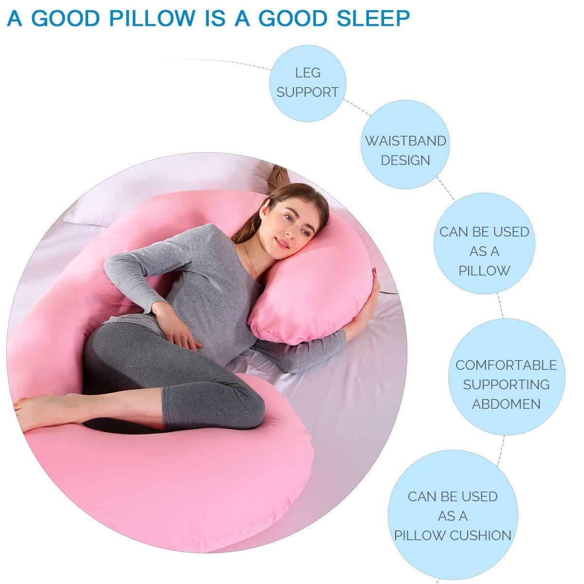Maternity Pillow for Pregnant Women Sleeping 75 MINGPINHUIUS Pregnancy Body Pillow with Pillowcase C Shaped Cotton Pillowcase, Grey//Blue 145cm Fuller Cotton C Shaped 2.5kg