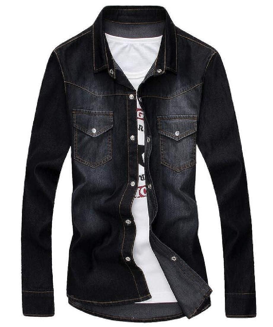 CRYYU Men Long Sleeve Basic Work Washed Denim Button Down Dress Shirts