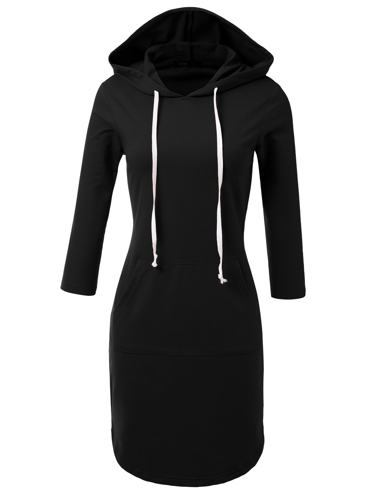 JayJay Casual Active V-Neck Pullover Lightweight Jersey Long Sleeve Hoodie Midi Dress with Kangaroo Pocket,Black,2XL