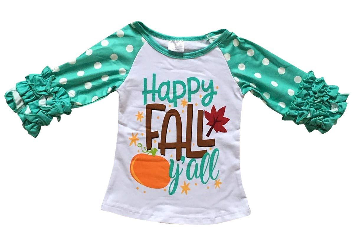 Dreamer P Big Girls' Ruffle Sleeve Thanksgiving Happy Fall T-Shirt Top Tee Kids White 6 XL (P318339P)