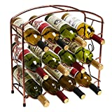 Modern Grapevine Design Bronze Freestanding Metal 12 Bottle Wine Storage Shelf Rack / 3-Tier Wine Holder For Sale