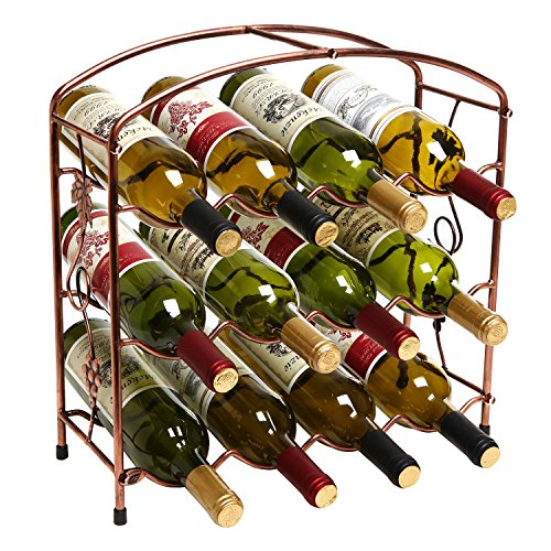 - Modern Grapevine Design Bronze Freestanding Metal 12 Bottle Wine Storage Shelf Rack / 3-Tier Wine Holder