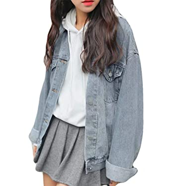 474cf34cae Image Unavailable. Image not available for. Color: Ankecity Women's  Boyfriend Denim Jackets Long Sleeve Loose Jean Coats Oversize