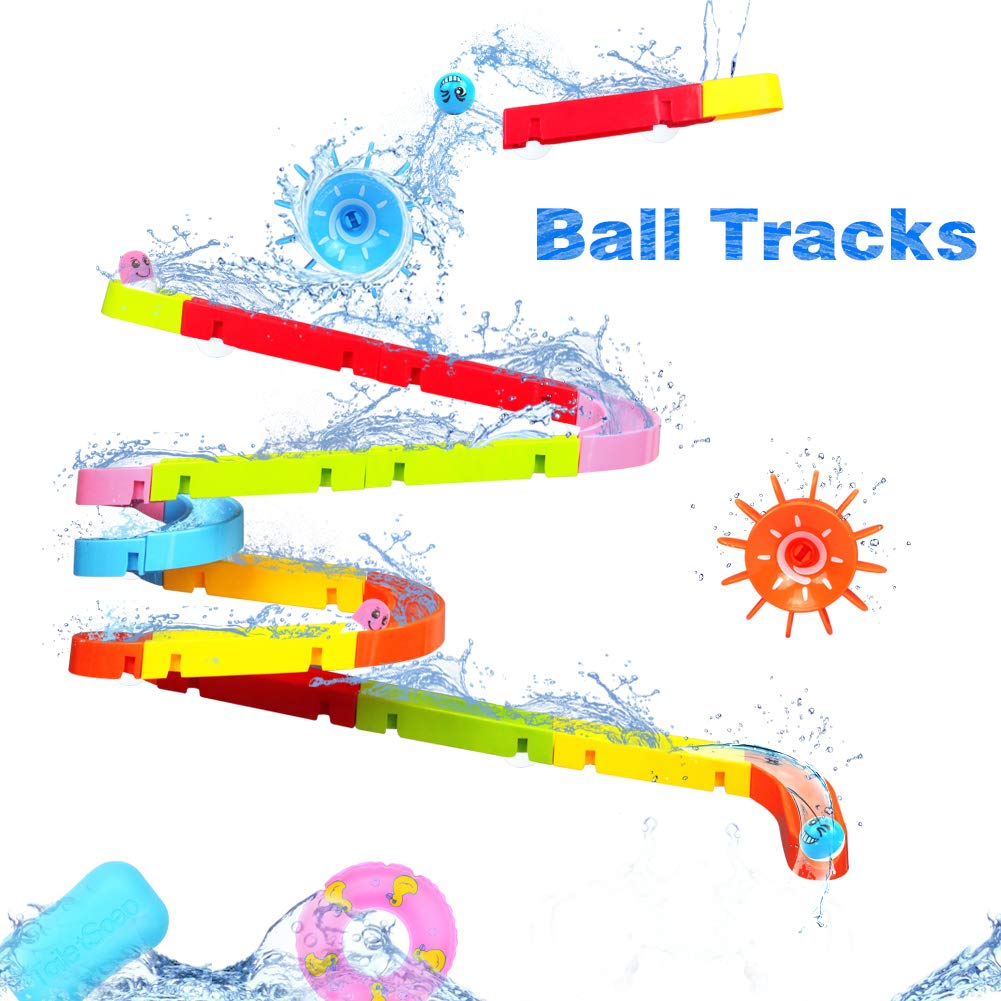 Ball Track Game, Bath Toys Kids Bathtub Toys Shower Toys, DIY Colorful Construction Kit Building Blocks Toys for Toddlers Girls Boys