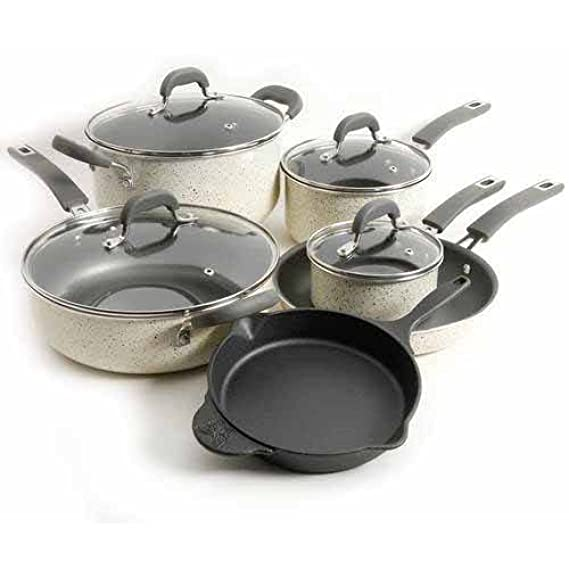 Amazon.com: The Pioneer Woman Vintage Speckle 10-Piece Non-Stick Pre-Seasoned Cookware Set (Linen): Home & Kitchen