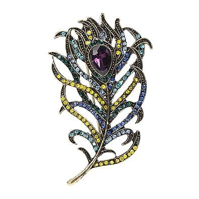 Vintage Crystal Peacock Feather Broche Broches Rhinestone Leaf Brooch