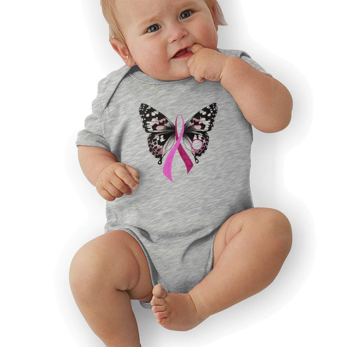 Bodysuits Clothes Onesies Jumpsuits Outfits Black Butterfly Breast Cancer Awareness Support Ribbon Baby Pajamas